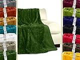 Cashmerefeeling-Superior-Flauschdecke - 14 exklusive Farben - 3 Komfortgrößen - traumhaft kuschelwarm & -weich, 180 x 220 cm, moosgrün