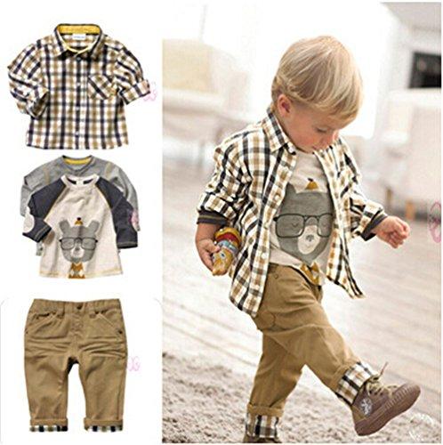 Sopo Toddler Bambini Casual 3pezzi plaid (maglietta + camicia + pantaloni cachi) 1-5y Brown 1-2 anni