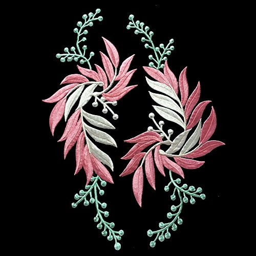 1Paar (2) Blume Stickerei Abzeichen Eisen auf Aufnäher Patches (3213cm) rose