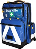 Erste Hilfe Notfallrucksack für Jugendgruppen u. Zeltlager - Plane blau mit weißen Reflexstreifen