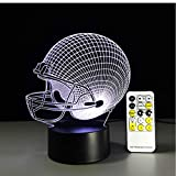Dengjiam Baseball Rugby Casque Night Light Optique Illusion Table Light Humeur Touch Télécommande 7 Couleurs Home Light Party Decor