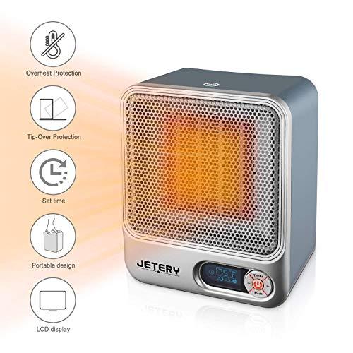 Mini Heizlüfter Heizgeräte Schnellheitzer mit 2 Heizstufen und Kühle Lüftereinstellung,Energiesparend Tragbar mit LCD Display & Summpfeife und Überhitzungsschutz für Haus und Büro (Grau)