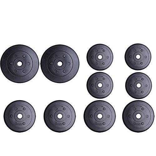 ScSPORTS® 27,5 kg Hantelscheiben-Set Kunststoff 2 x 5 + 4 x 2,5 + 6 x 1,25 kg Gewichte 30/31 mm Bohrung - leise und bodenschonend