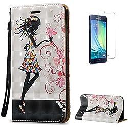 KaseHome Compatible For Samsung Galaxy A5 2015/A500FU Wallet Funda PU Leather Cuero Piel Caso Función De Soporte Billetera con Tapa Libro Tarjetas del Protector -Blanco