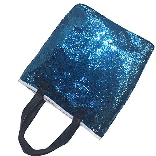Lalang Meerjungfrau Stil Farbige Pailletten Beiläufige Retro Paket Beutel Messenger Handtasche Schultertasche (Blau + gold) See blau + silber