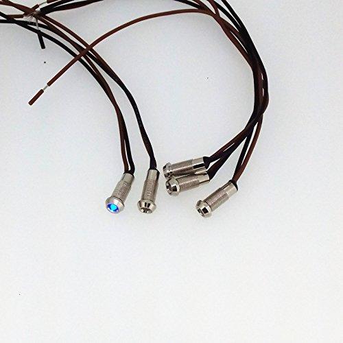 Preisvergleich Produktbild Kmise 6mm 12V Blau LED Metall Indicator Pilot Dash Licht Lampe mit Draht Blei Teile Verchromt Kupfer 5Stück