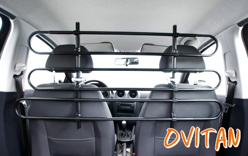 OVITAN Hundegitter fürs Auto 6 Streben universal zur Befestigung an den Kopfstützen der Vordersitze - für alle Automarken geeignet - Modell: V06
