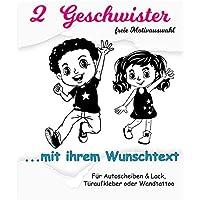 NEU Baby/Kinder Aufkleber-Sticker *** 2 GESCHWISTER mit Wunschtext***(10 Motive,- Größen.- und Farbauswahl) Kinderzimmer - Wände,Türen, Autoscheiben/Lack uvm