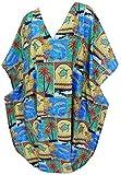 LA LEELA Short Kaftan Caftan Women's Maxi Cover ups Beach Swimwear Dresses Evening Gown Ladies Lounge Plus Resort Bathing Suit Soft Fabric Printed Matching 3