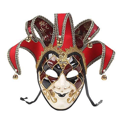 Wawer Spielzeug Maske Venezianische Joker Maske Vollmaske Maskerade Theatermaske Karneval-Weihnachtsfeier Prom Maske Cosplay Kostüm Zubehör (Rot) - Krieg Maske Für Erwachsene
