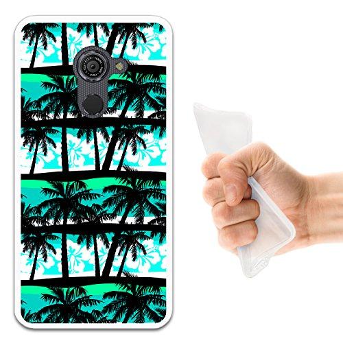 WoowCase Vodafone Smart Platinum 7 Hülle, Handyhülle Silikon für [ Vodafone Smart Platinum 7 ] Tropische Palmen Handytasche Handy Cover Case Schutzhülle Flexible TPU - Transparent