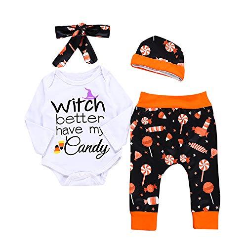 Notdark Kleinkind Infant Baby Halloween Kostüm Outfits Set Mädchen Jungen Gedruckt Strampler Hosen + Hut+ Stirnbänder Niedlich Cartoon Spielanzug Kinderkleidung Set (Weiß,80)