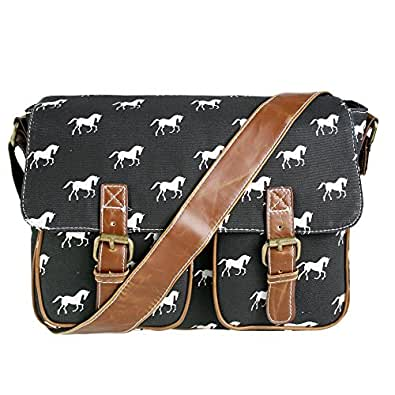 Ladies Horse Canvas Satchel Messenger Shoulder School Cross Body Bag (Black)