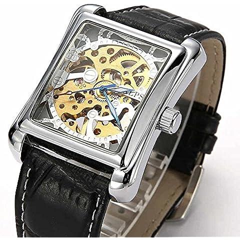 ALPS–Chaqueta de lujo esqueleto mano viento rectángulo Dial reloj automático con banda de piel), color negro