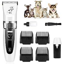 GHB Kit de Cortapelos Profesionales para Perros Gatos Mascotas Esquiladoras Inalámbricas eléctricos Dogs Clippers Recargable ajustable con 4 peine Universal