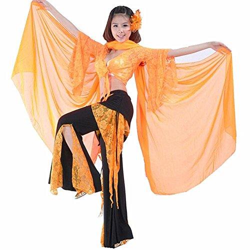 Byjia Frauen Bauchtanz Kostüm Outfit Professionelle Performance Lace Baumwollgarn Kurzarm Praxis Hosen Rock Modern Match Kleidung Set, orange, - Lace Unitard Tanz Kostüm