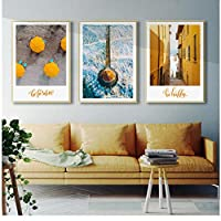 Yellow Boat Umbrella Wall Art Canvas Painting Temple City Landscape Posters and Prints Wall Pictures for Living Room Home Decor 50 * 70cm