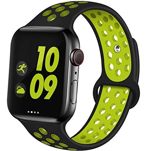 EXCHAR Bracelet de sport compatible avec Apple Watch 38 mm 42 mm 40 mm 44 mm Respirant souple en silicone pour femme et homme pour iWatch Série 4 3 2 1 Nike+ tous les styles, noir/jaune, 44mm/42mm M/L