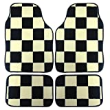 XtremeAuto® COOPER, CHEQUERED / CHECKERED, Black and White Racing Finish Flag, Floor Mat Set (WLW2-A11)