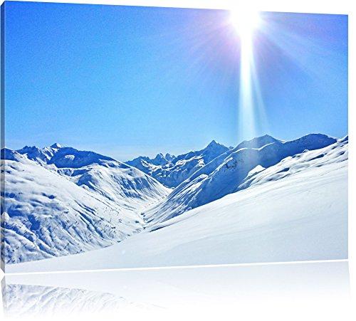Schnee Berge Format: 100x70 cm auf Leinwand, XXL riesige Bilder fertig gerahmt mit Keilrahmen, Kunstdruck auf Wandbild mit Rahmen, günstiger als Gemälde oder Ölbild, kein Poster oder Plakat (Schnee Berg Bilder)