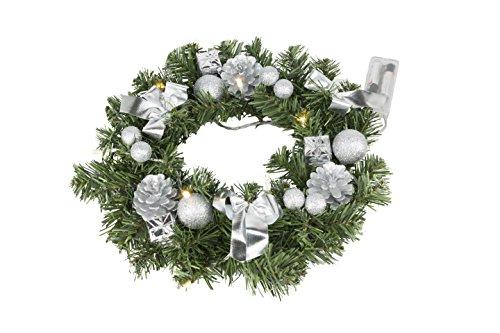 Best Season Tannenkranz, ca. 30 cm,10 warmweisse LED, Plastik, Grün, 30 x 30 x 9 cm