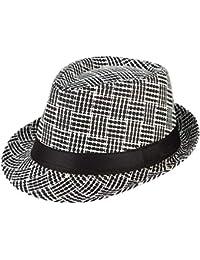 Laisla fashion Sombrero De Paja Retro De Los Hombres Sombrero A Clásico  Cuadros Sombrero ... caed44c0ad2