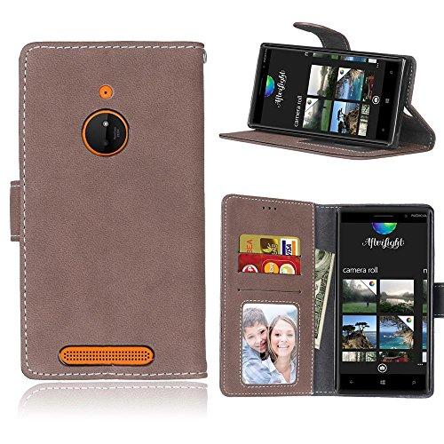 MAXJCN Telefonkasten Für Nokia Lumia 830, Retro Stil Einfarbig Premium PU Leder Brieftasche Fall Flip Folio Schutzhülle Abdeckung Mit Kartensteckplatz/Ständer, Modisch langlebig. (Farbe : Braun) - Geldbörse Fall Nokia Lumia 830
