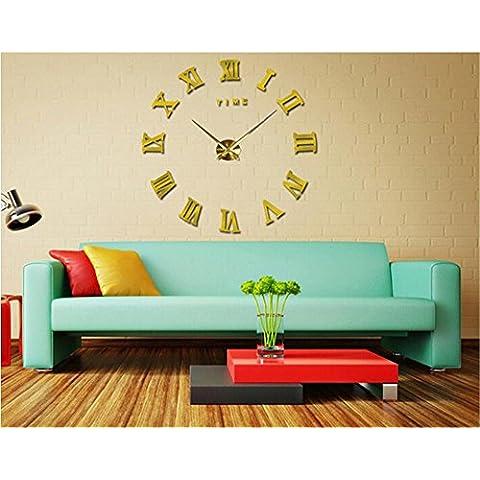 GYN Continental creativo moda 3D acrilico specchio DIY Orologio minimalista Sticker Orologio artistico soggiorno camera da letto TV sfondo decorazione , gold - Primo Anno Sticker Calendario