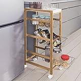 Carrello Salvaspazio Slim da Cucina con 3 Cestini Portafrutta in Metallo 1 Vassoio Estraibile Materiale Legno di Bamboo Colore Naturale