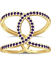 Silvernshine Halo Twist Amethyst CZ Diamond Engagement Ring 14k Yellow Gold Plated Bridal Ring Set