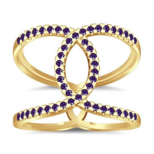 Silvernshine Halo Twist Amethyst CZ Diamond Engagement Ring 14k Yellow Gold Plated Bridal Ring Set