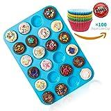 Joyoldelf Large mini muffin Pans–24per forno in silicone antiaderente muffin, bonus 100pcs random tazze di carta da forno per cupcake