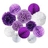 Cocodeko 12 Stück Papier Pompoms und Wabenbälle Dekorpapier Kit für Geburtstag Hochzeit Baby Dusche Parteien Hauptdekorationen - Violett , Lavendel und Weiß