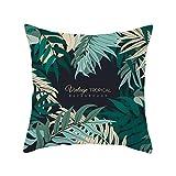 iHAZA Feuilles Tropicales Plantes Fleurs Housse de Coussin Imprimés/Chambre/Salon/Bureau/Voiture/Canapé 45 * 45cm