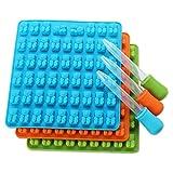Huhu833 Eiswürfelform, 53 Würfel Eiswürfelform Silikon Gummibärchen Schokoladen Form Süßigkeits Hersteller Eis Behälter Gelee Formen
