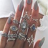 Yesiidor 11stück Midi Ringe Set Silber Für Damen Retro Fingerring Nagel Finger