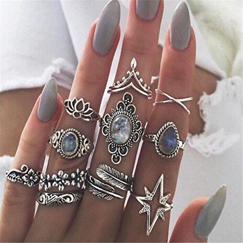 Yesiidor 11stück Midi Ringe Set Silber Für Damen Retro Fingerring Nagel Finger (Ring Nagel)