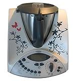 Grafix Autocollant en vinyle compatible avec le Thermomix TM31 Motif papillons Noir/rouge