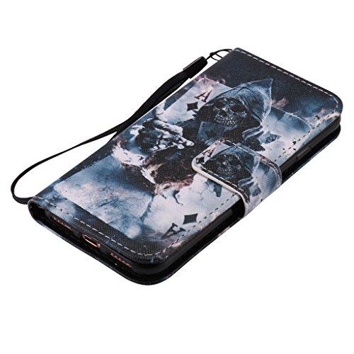Custodia Iphone 7, con protezione per lo schermo in vetro temperato] antigraffio, fatcatparadise (TM) Custodia posteriore morbida in silicone, design colorato motivo magnetica PU custodia a portafogli Death magician