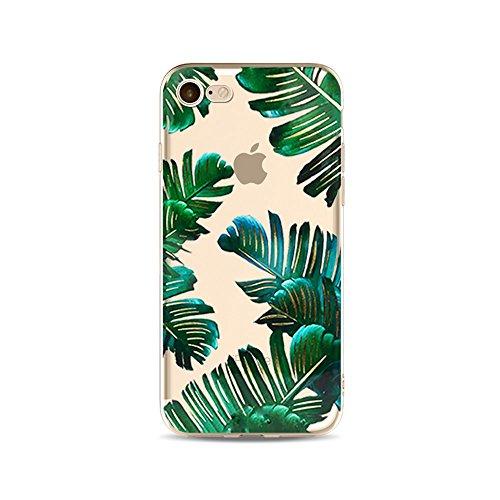 iPhone 6S Hülle, iPhone 6 HandyHülle, Tropisch Palm Blätter Muster Silikon Gel Slim Transparent Handytasche für 4.7