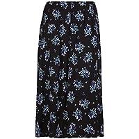 Women Plus Size Floral Flower Printed Ladies Elasticated Waist Long Midi Skirt
