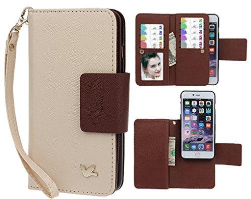 xhorizon FX Prämie Leder Folio Case [Brieftasche] [Magnetisch abnehmbar] Uhrarmband Geldbeutel Flip Vogel Tasche Hülle für 4.7 Zoll iPhone 6 6s mit einer Auto Einfassungs Halter Beige