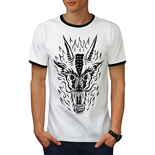 Tier Drachen Kunst Horror Herren S Ringer T-shirt | Wellcoda (T-shirt Drache-kunst-dunklen)