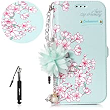 Galaxy A5 2017 Leather Case,[with 1 Free Black Retractable Dust Plug Stylus Pen],Huphant Beautiful Flowers Pattern (Pearl Flower + Chain) PU Leather Stand Function Shockproof Protective Cases Covers with Card Slot Holder Wallet Book Design Kickstand Function Hand Strap and Magnetic Clasp Case for Samsung Galaxy A5 2017