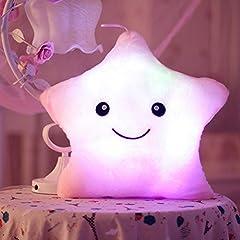 Idea Regalo - Missley Pilllow LED a forma di stella, colore: rosa - Cuscino di peluche morbido cuscino da viaggio