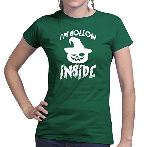 Womens I'm Hollow Halloween Witch Pumpkin Costume Ladies T Shirt (Tee, Top) Forest Green