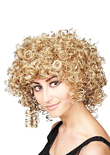 (8in1 Womens 1980er Jahre lockige Blonde Club Perücke)
