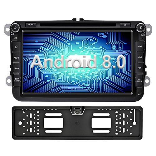 Ohok 8 Pollici Android 8.0.0 Oreo Octa Core 2 Din In Dash Autoradio Schermo di Tocco Lettore DVD Navigatore GPS Con Bluetooth Per VW Volkswagen Golf Passat con telecamera di retromarcia