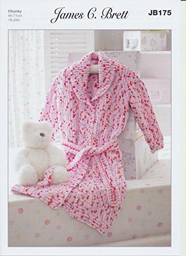 James C Brett Chunky - JB175 Baby Dressing Gown 46-71 cm (18-28 ins)