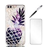 Coque Huawei p Smart, LaiXin Housse Étui Case Cover Ultra Mince TPU Gel Silicone [Crystal Clear] Premium Transparent/Exact Fit/Souple + Protecteur d'écran + Stylet - Ananas